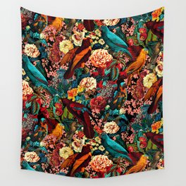 FLORAL AND BIRDS XVII Wall Tapestry
