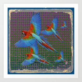 SHABBY CHIC BLUE MACAWS FLIGHT Art Print