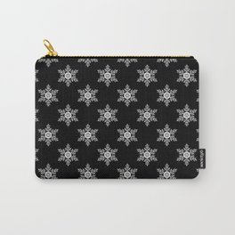 Snowflakes on black Carry-All Pouch