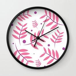 Pink Leaves Big Wall Clock