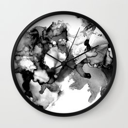 Black & White Abstract Alcohol Ink I Wall Clock