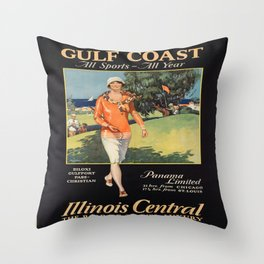 Vintage poster - Gulf Coast Throw Pillow