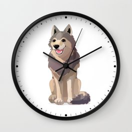 Happy gray wolf. Vector graphic character Wall Clock