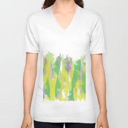 Natural colors - abstract art - green, yellow, purple Unisex V-Neck