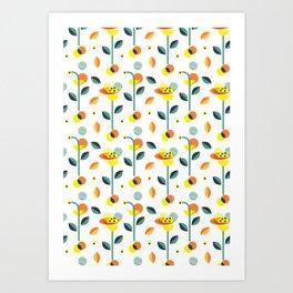 Wonderland floral illustration pattern creative design interior design Art Print