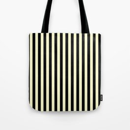 Cream Yellow and Black Vertical Stripes Tote Bag
