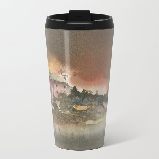 Marquette Lighthouse Metal Travel Mug