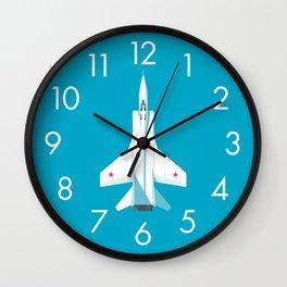 MiG-31 Foxhound Interceptor Jet Aircraft - Cyan Wall Clock