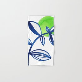 Blue and lime green minimalist leaves Hand & Bath Towel