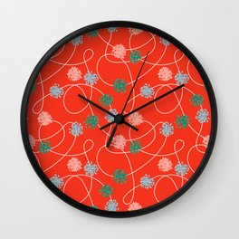 Holiday Pom-Poms Wall Clock