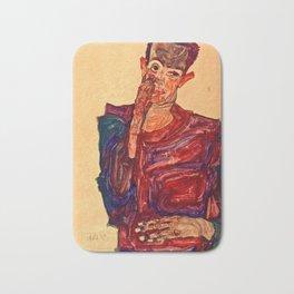 Egon Schiele - Self Portrait With Eyelid Pulled Down Bath Mat