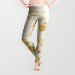 Oriental birds gold Leggings