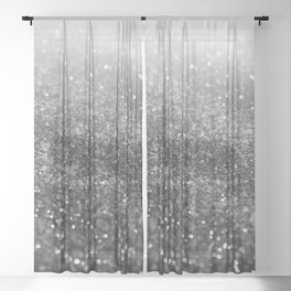 Silver Gray Black Glitter #2 (Faux Glitter - Photography) #shiny #decor #art #society6 Sheer Curtain