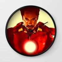 robert downey jr Wall Clocks featuring Iron Man *** by Hands in the Sky