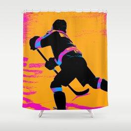 He Shoots! - Hockey Player Shower Curtain