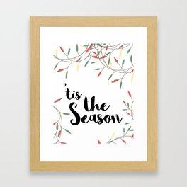Tis the Season Christmas Lights Framed Art Print