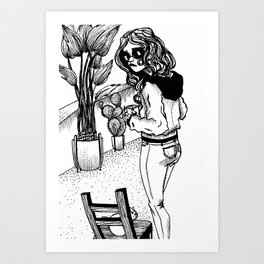 hand drawn girl drinking coffee with cat and plants Art Print