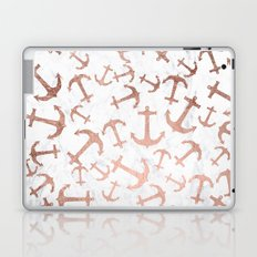 Modern faux rose gold anchors pattern white marble Laptop & iPad Skin