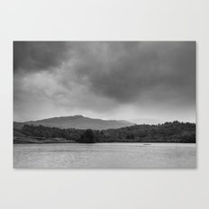 Rainclouds and rain over Rydal Water at dusk. Lake District, UK. Canvas Print