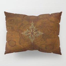 Antique Steampunk Compass Rose & Map Pillow Sham