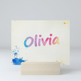 Olivia Rainbow Watercolor Splatters Mini Art Print