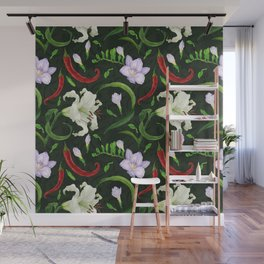 Tropical flowers and peppers dark green watercolor seamless pattern Wall Mural