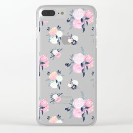 Spring Florals on Mustard Yellow Clear iPhone Case
