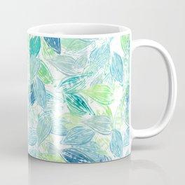 Beach Leaves Block Print Style Pattern Coffee Mug