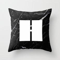 Black Marble - Alphabet H Throw Pillow