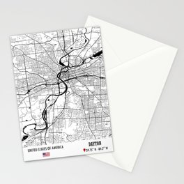 Dayton, USA Road Map Art - Earth Tones Stationery Cards
