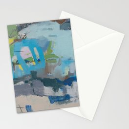 """""""riding the rail"""" abstract art in navy, lime, robin's egg and teal Stationery Cards"""
