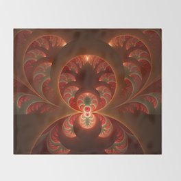 Fractal Mysterious, Warm Colors Are Shining Throw Blanket