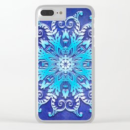 Baroque style texture on grunge background Clear iPhone Case