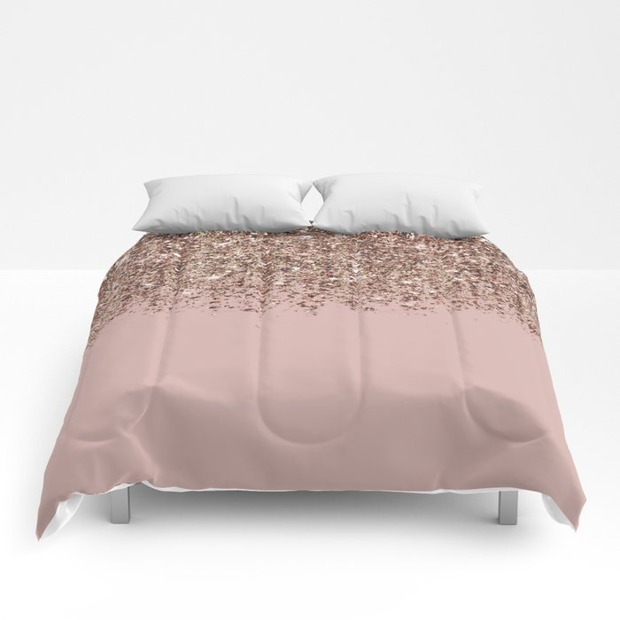 Blush Pink Rose Gold Bronze Cascading Glitter Comforters By