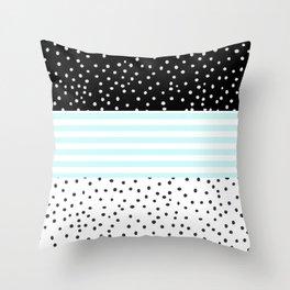 Modern black white teal stripes watercolor polka dots Throw Pillow
