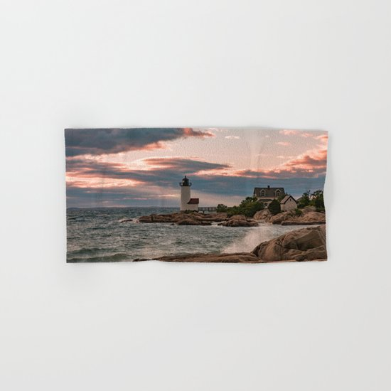 Annisquam Lighthouse sunset Hand & Bath Towel