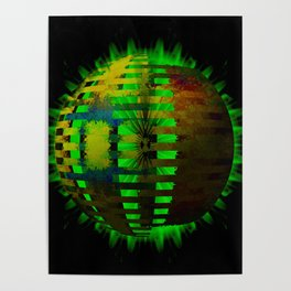 Yellow Layered Star in Green Flames Poster