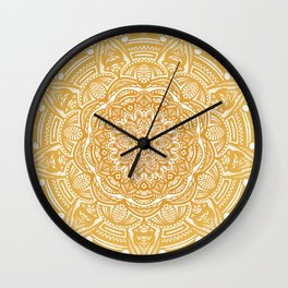 Golden Mustard Yellow Orange Ethnic Mandala Detailed Wall Clock