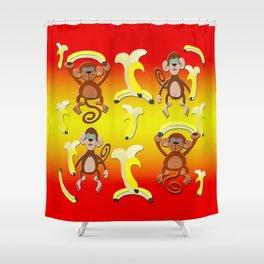 Bananas Monkeys Pattern Shower Curtain