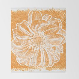 White Flower On Warm Orange Crayon Throw Blanket