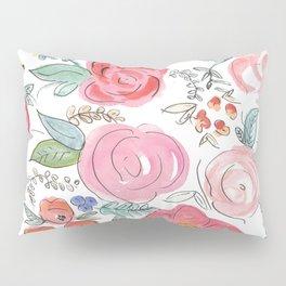 Watercolor Floral Print Pillow Sham
