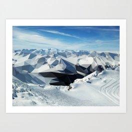 low poly mountains Art Print