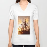 pirate ship V-neck T-shirts featuring PIRATE SHIP :) by Teresa Chipperfield Studios