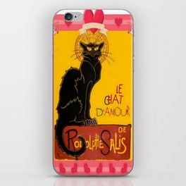 Le Chat Noir D'Amour Heart And Cherub Border iPhone Skin
