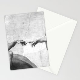 Black and White Creation of Adam Painting by Michelangelo Sistine Chapel Stationery Cards