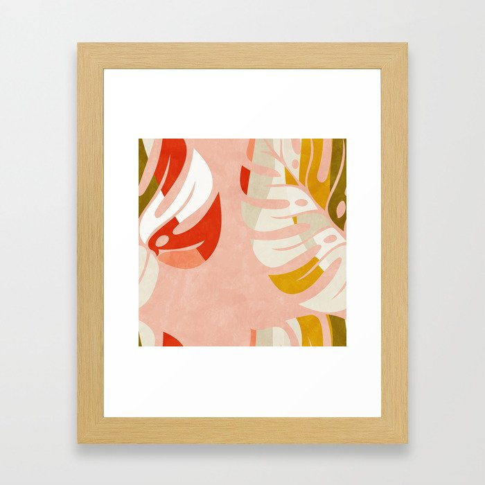 shapes leave minimal abstract art Framed Art Print