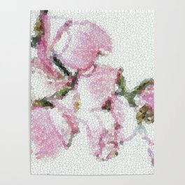 Dogwood Tree Flowers (stained glass-pink&green) Poster