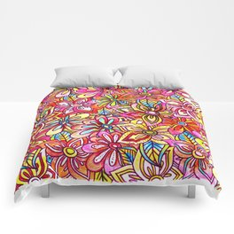 Pink Floral and blues Comforters