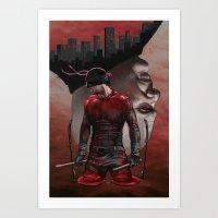 daredevil Art Prints featuring Daredevil by Kiptoe