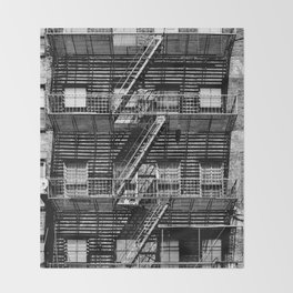 Fire escapes at noon Throw Blanket